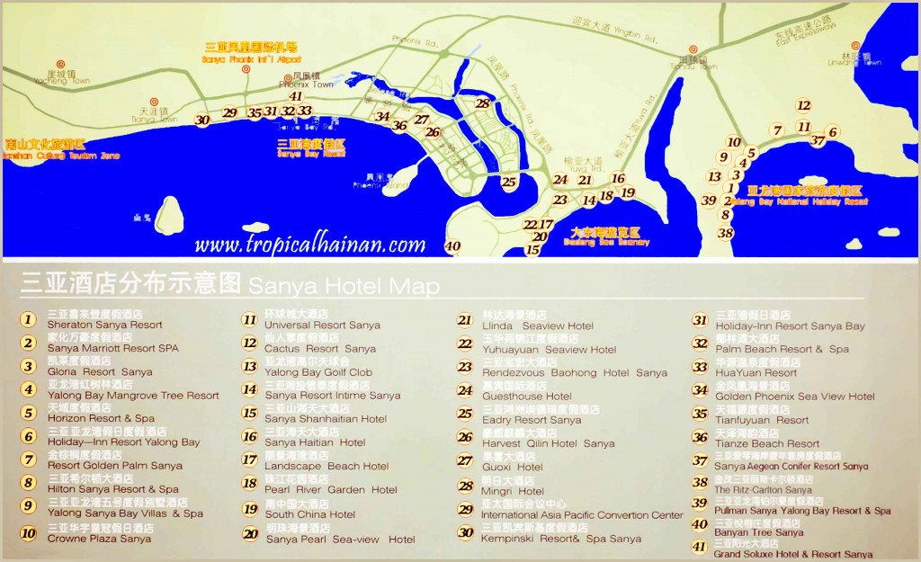 Map of hotels in Sanya