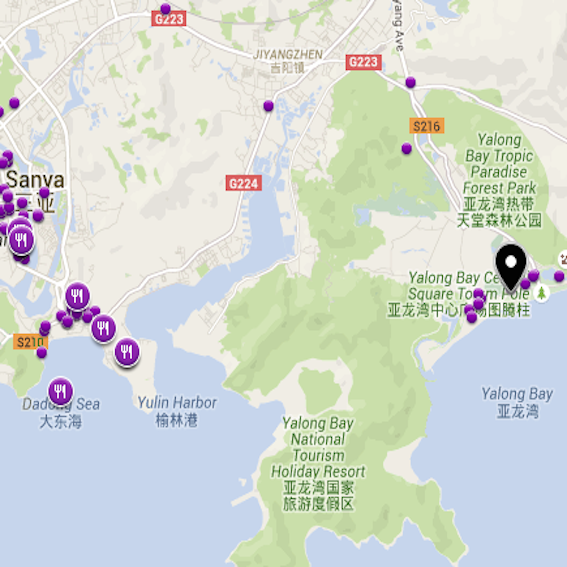 Top restaurants in Sanya map