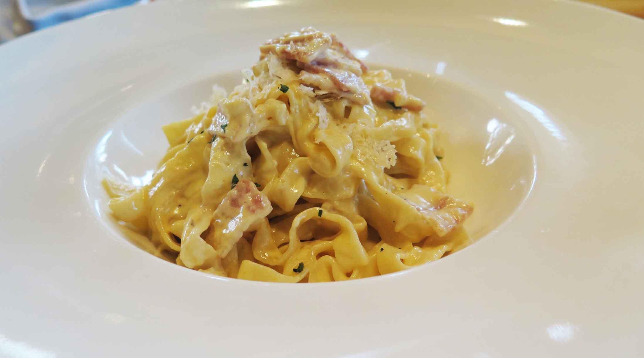 Homemade Tagliatelle alla Carbonara.