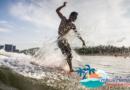 Surfing at Ri Yue Bay, Wanning Hainan Island