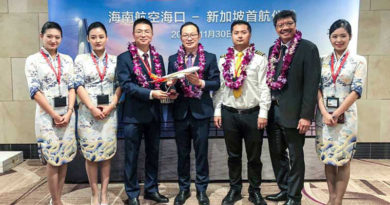 Hainan Airlines introduced a three times weekly service between Haikou (HAK) and Singapore