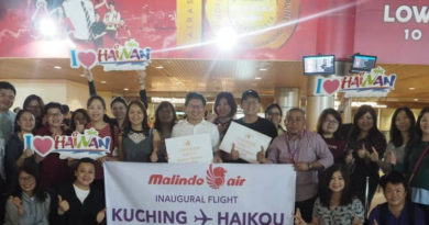 Direct flight links Haikou, Malaysia's Kuching