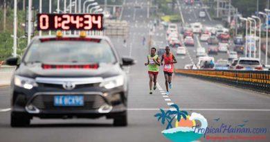 Haikou MMaiyo Michael Kimtai, Kenya (right) wins the 2019 Haikou Marathonarathon 2019 Hainan Island (5)