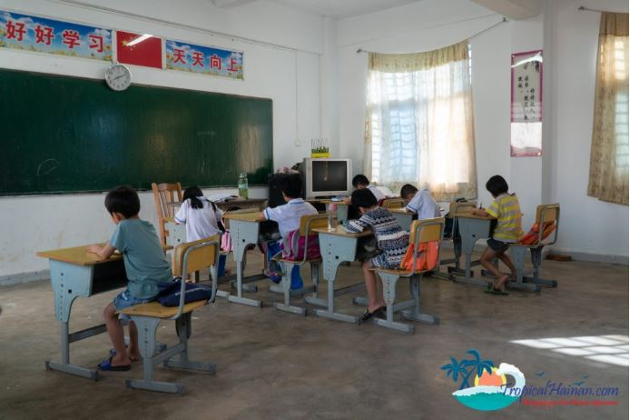 Students at school in Beigang elementary school Hainan island