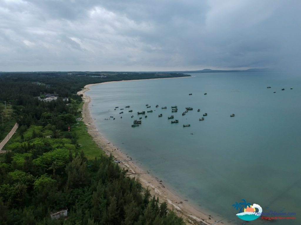 drone photo of beach wenchang hainan island.