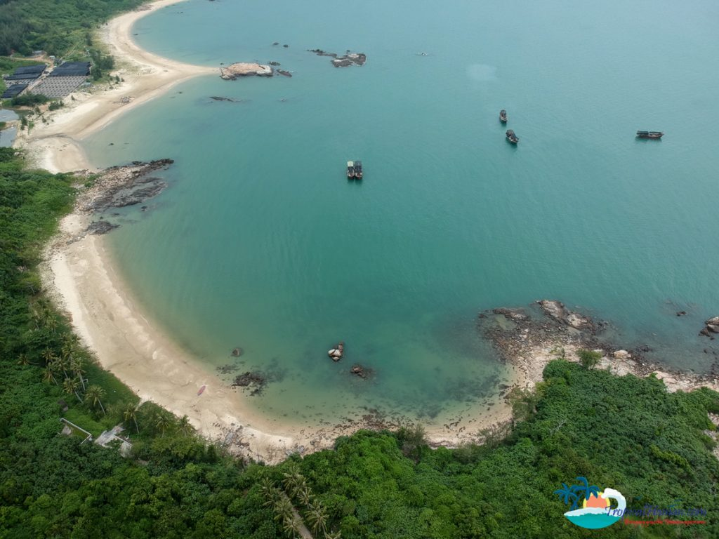 drone photo of beach wenchang hainan island
