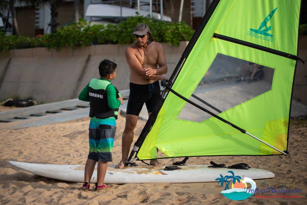 teaching child how to windsurf