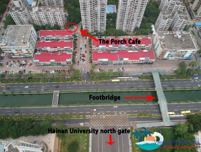 Drone photo of Haikou showing the porch cafe location haidian island