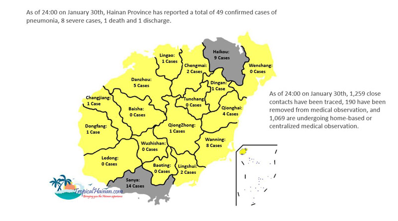 Location of infected cases in Hainan Island Jan 30th