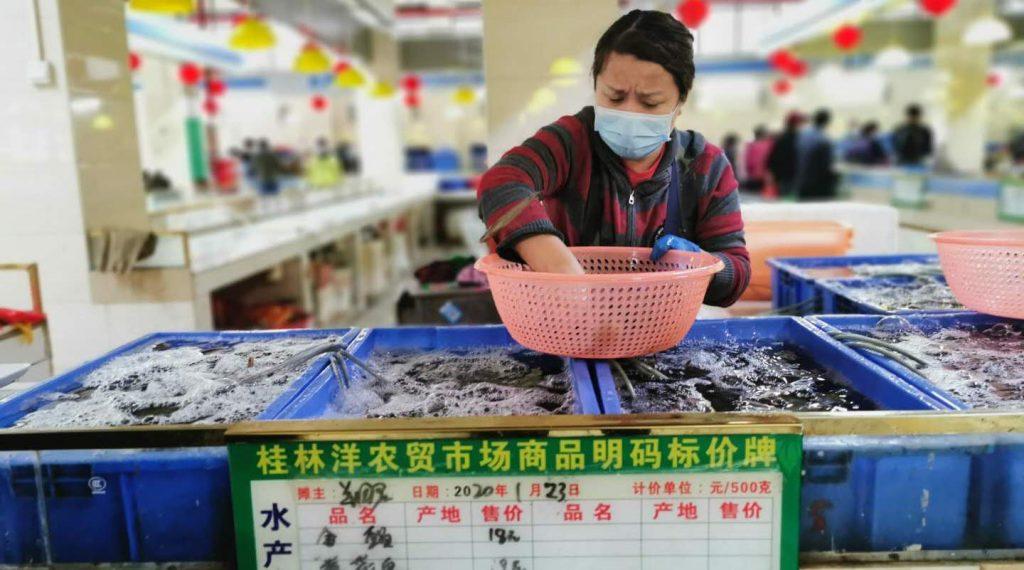 Shrimp seller at Wet market