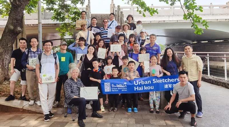 Haikou urban sketchers art activity Haikou Hainan island