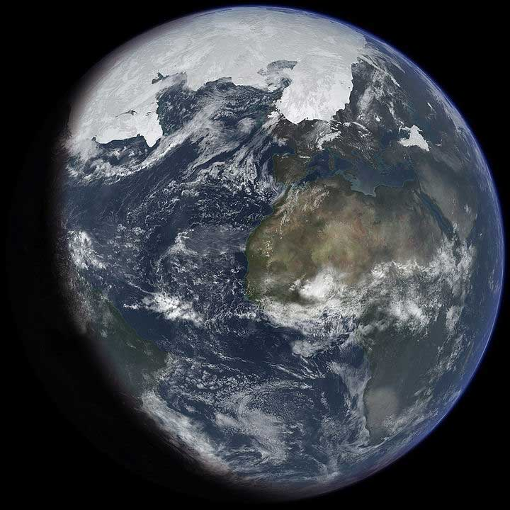 Artist's impression of the last glacial period at glacial maximum, much of the now temperate areas of the earth were covered in ice during the last ice age.